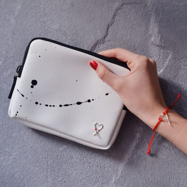White splashed wallet & bracelet